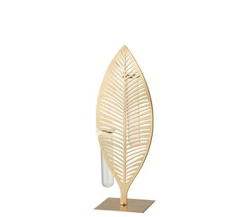 J -Line Tube Vases Feather Forging Glass Gold - Large