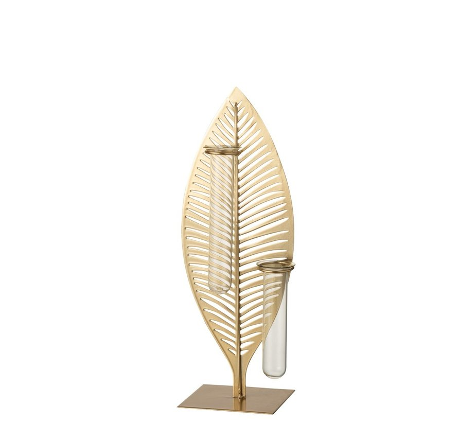 Tube Vases Feather Forging Glass Gold - Large