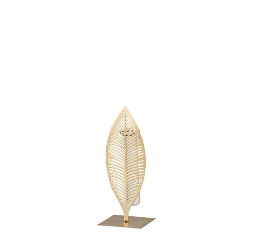 J -Line Tube Vase Feather Forging Glass Gold - Small