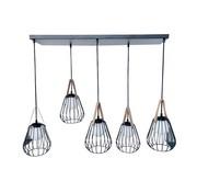 J -Line Hanging Lamp Five Lamps Steel Glass Black - Beige