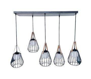 J-Line  Hanglamp Vijf Lampen Staal Glas Zwart - Beige