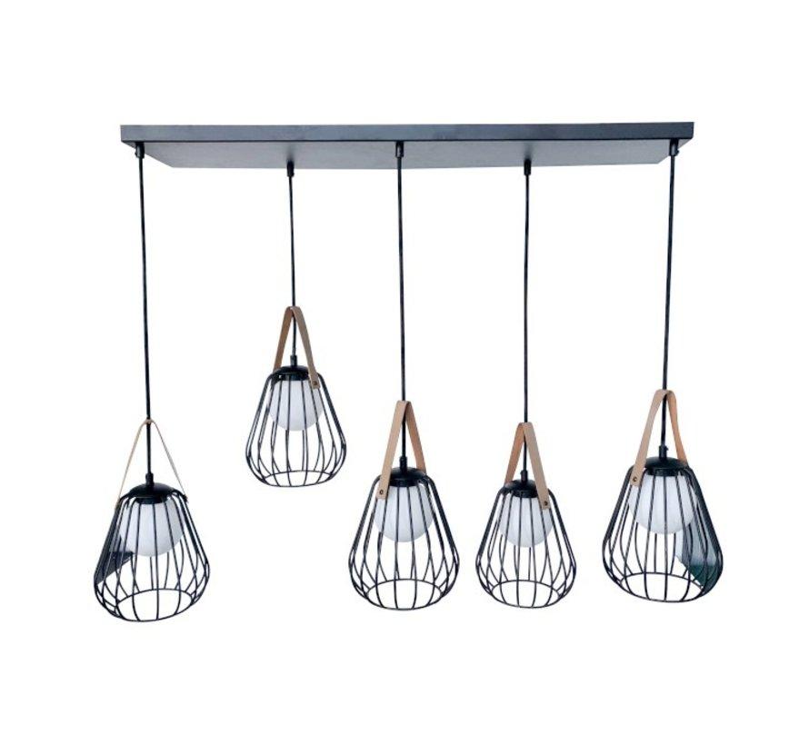 Hanglamp Vijf Lampen Staal Glas Zwart - Beige