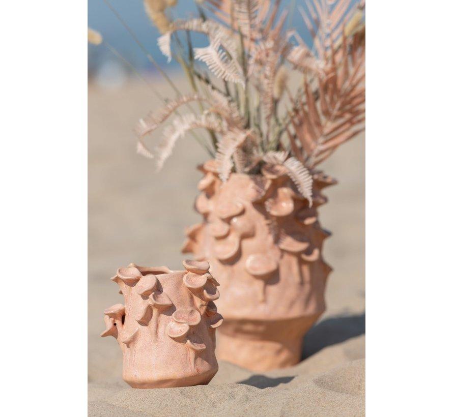 Vaas Keramiek Draaikolkjes Roze Oranje - Medium