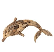 J -Line Wall decoration Dolphin Driftwood Natural - Large