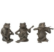 J -Line Decoration Figure Three Musical Frogs Gray - Large