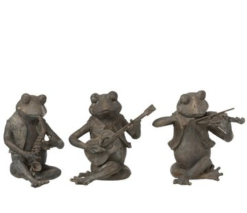 J-Line Decoration Figure Three Musical Frogs Gray - Large