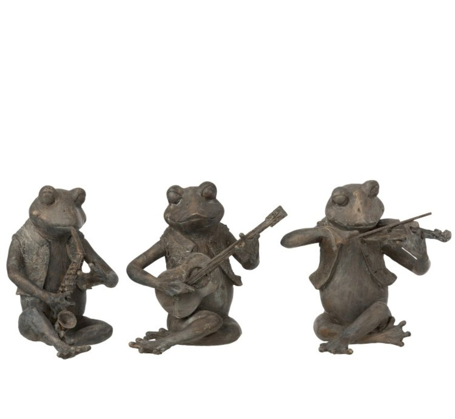 Decoration Figure Three Musical Frogs Gray - Large