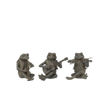 J -Line Decoration Figure Three Musical Frogs Gray - Small