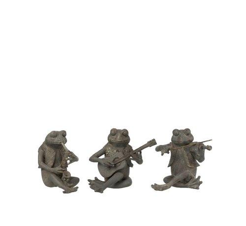 J -Line Decoratie Figuur Drie Muzikale Kikkers Grijs - Small
