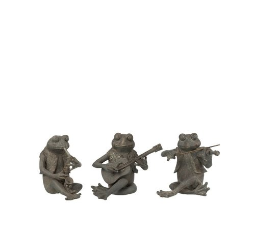 J-Line Decoration Figure Three Musical Frogs Gray - Small