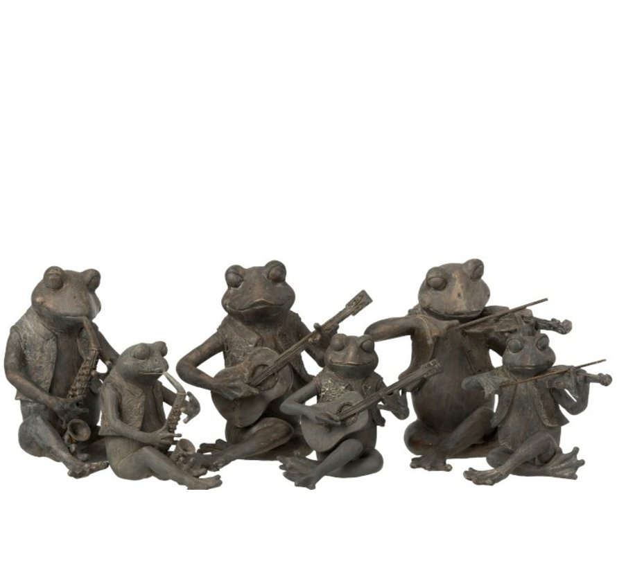 Decoration Figure Three Musical Frogs Gray - Small