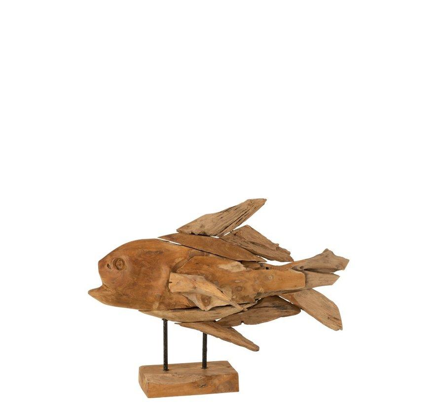 Decoratie figuur Vis Drijfhout Naturel - Bruin