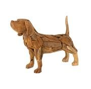 J -Line Decoratie figuur Hond Teakhout Naturel - Bruin