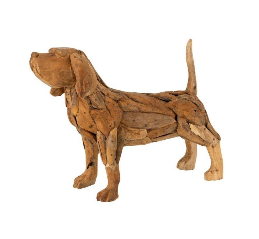 Decoratie figuur Hond Teakhout