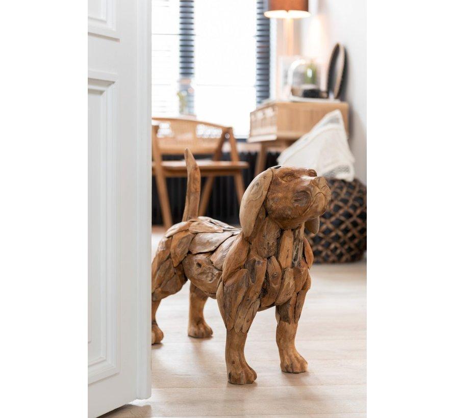 Decoration figure Dog Teak