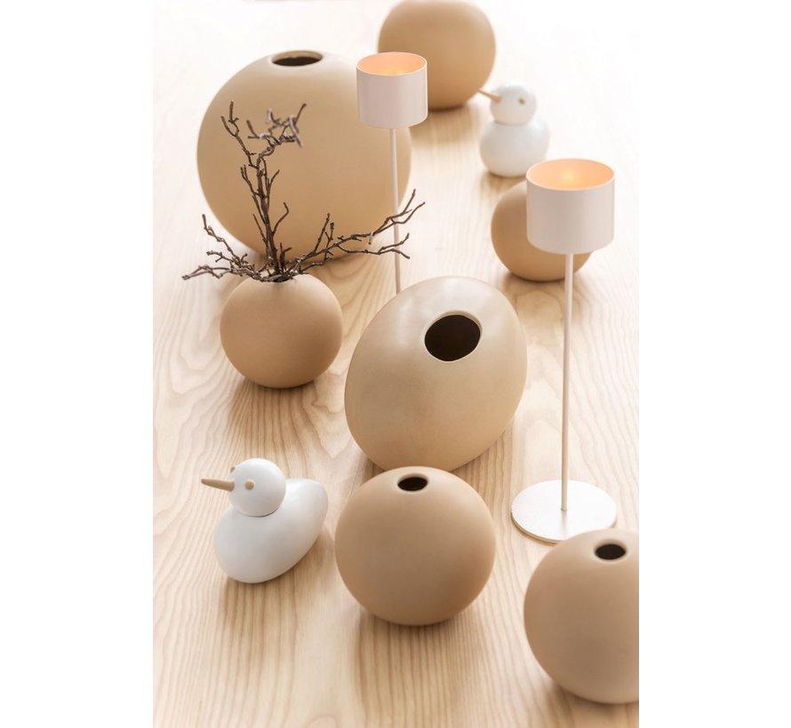 Vase Oval Ceramic Pastel Matt Beige - Large