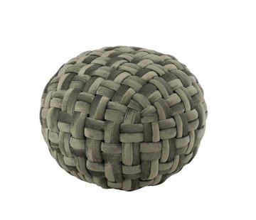 J-Line  Pouf Round Crocheted Viscose Green