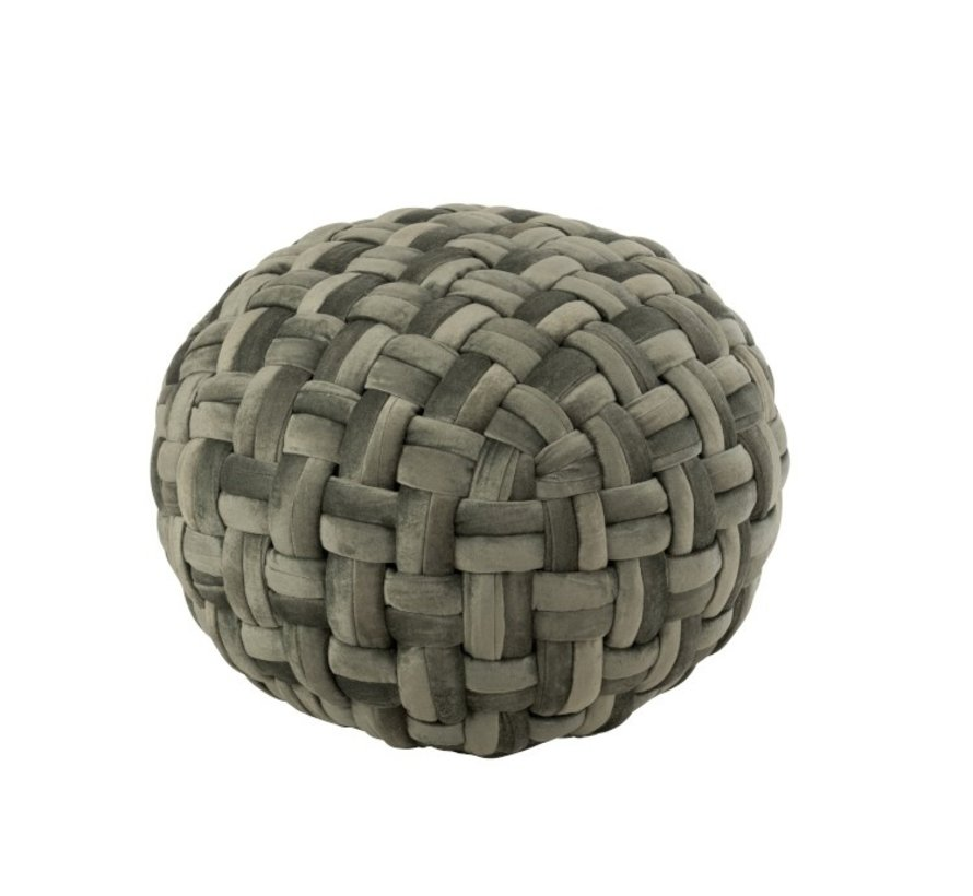 Pouf Round Crocheted Viscose Green