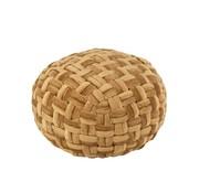 J-Line Pouf Round Crocheted Viscose Gold