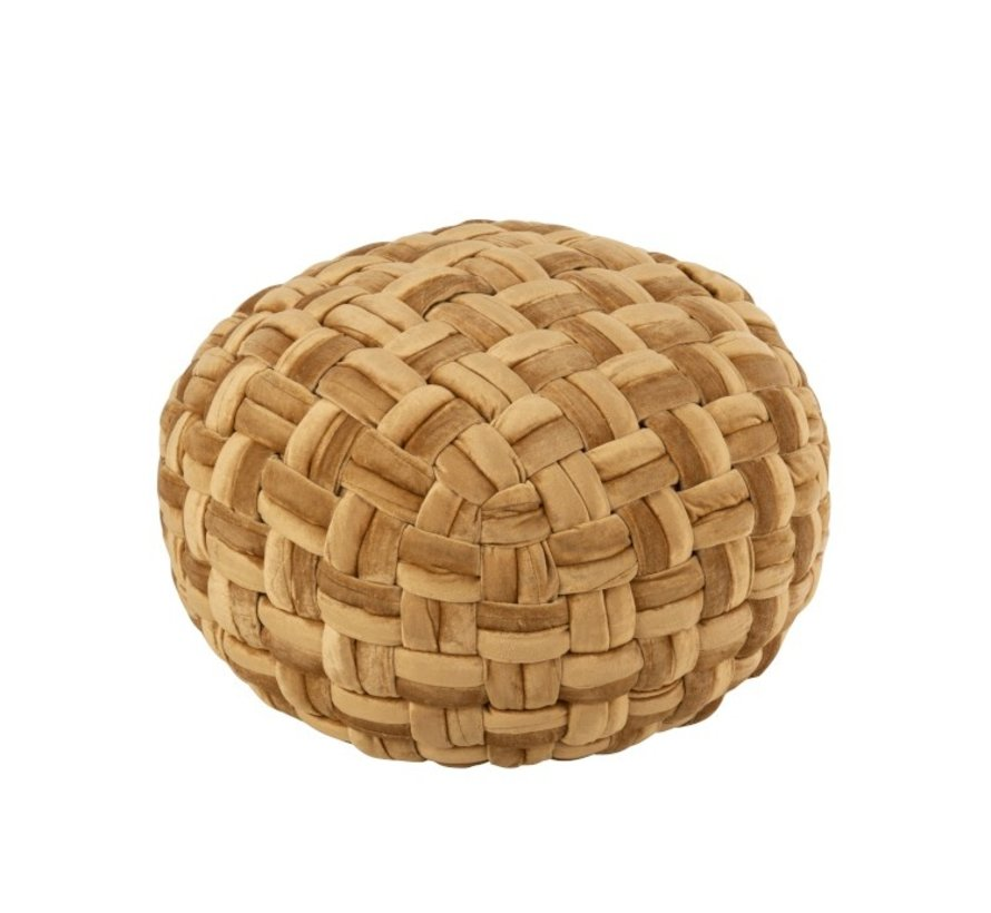 Pouf Round Crocheted Viscose - Gold