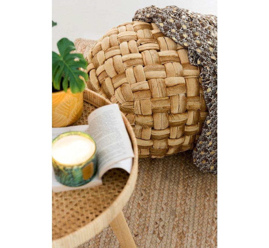 Pouf Round Crocheted Viscose Gold
