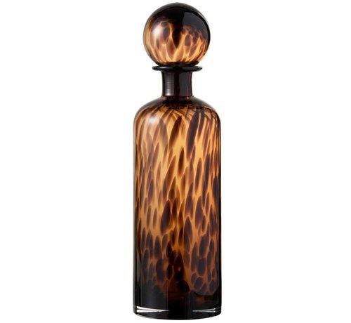 J -Line Decoratie Karaf Vlammen Glas Bruin Zwart - Large