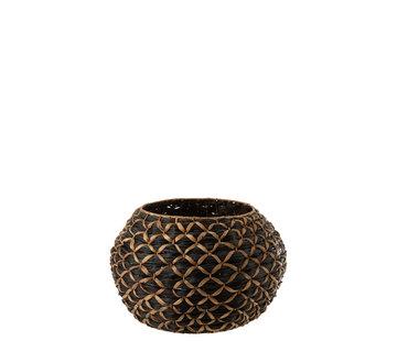 J -Line Basket Round Water Hyacinth Black Brown - Large