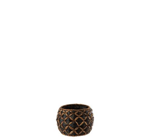 J -Line Basket Round Water Hyacinth Black Brown - Small