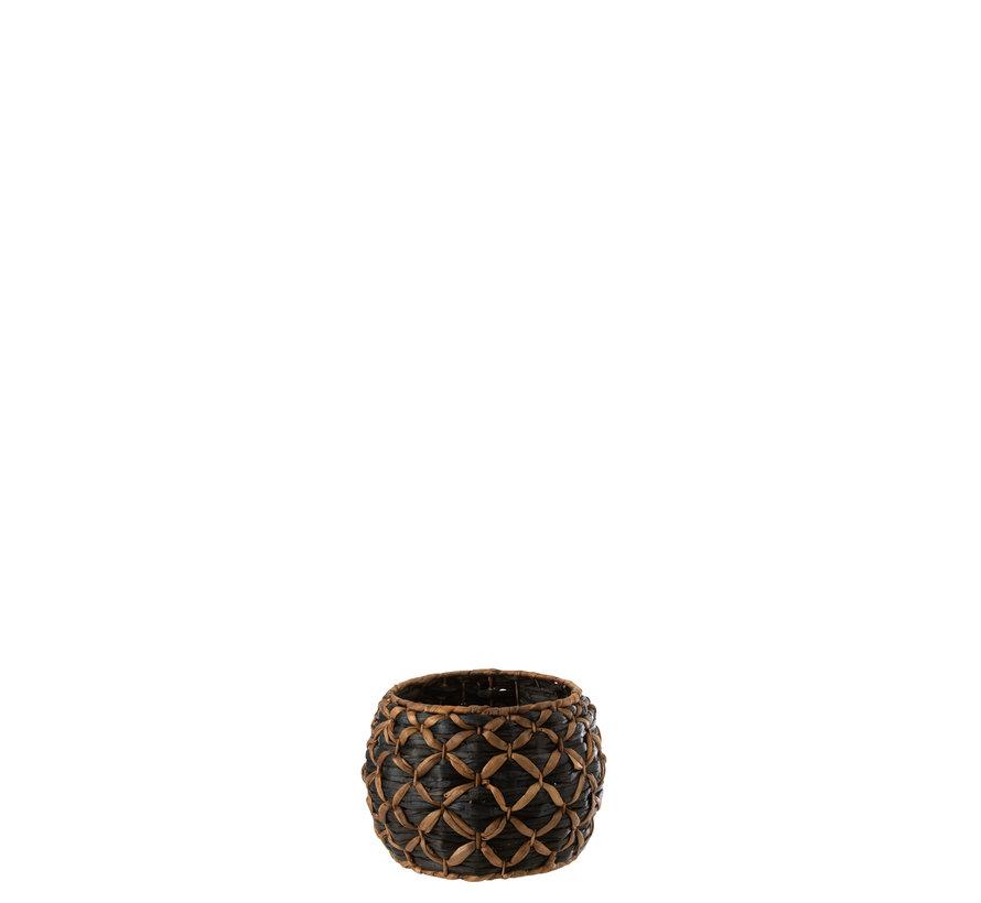 Basket Round Water Hyacinth Black Brown - Small