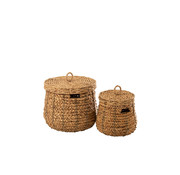 J -Line Baskets Round With Lid Cane - Natural