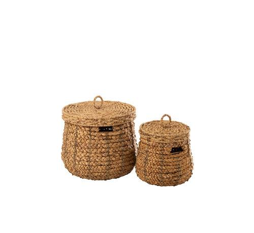 J -Line Baskets Round Lid Cane Natural