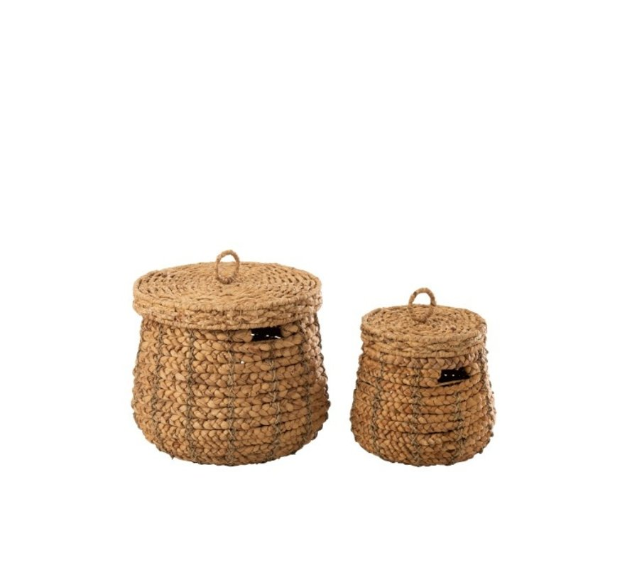 Baskets Round Lid Cane Natural