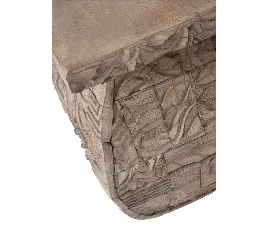 Side table Square Natural Wood Gray