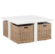 J -Line Coffee table Square Baskets Wood White