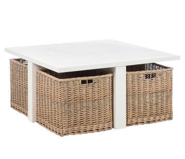 J-Line  Coffee table Square Baskets Wood White