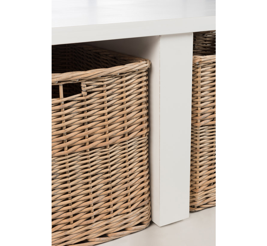Coffee table Square Baskets Wood White