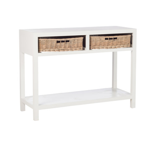 J -Line Console Table Rectangle Baskets White