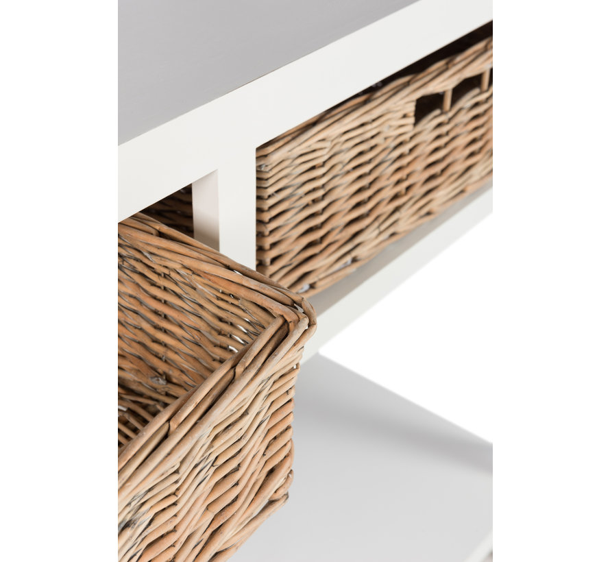 Console Table Rectangle Baskets White