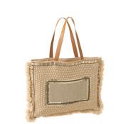 J -Line Beach bag Pearls Cotton Linen - Beige