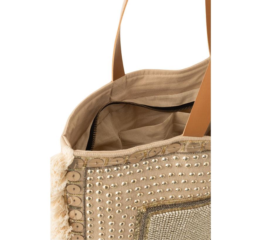 Beach bag Pearls Cotton Linen