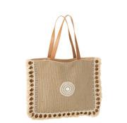 J -Line Beach Bag Coins Cotton Linen - Beige