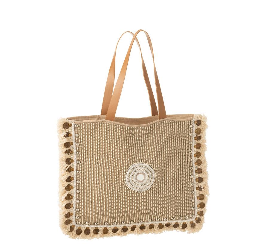 Beach Bag Coins Cotton Linen - Beige