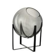 J-Line Vaas Op Voet Glas Metaal Grijs Large