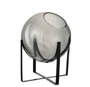 J -Line Vase On Foot Glass Metal Gray - Large