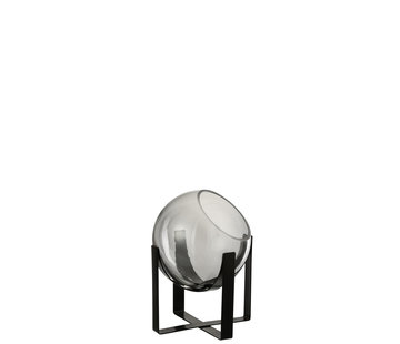 J -Line Vase On Foot Glass Metal Gray - Small