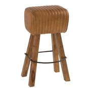 J -Line Gym Stool Rectangle Leather Mango Wood - Caramel