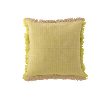 J -Line Cushion Square Fringes Yellow - Beige