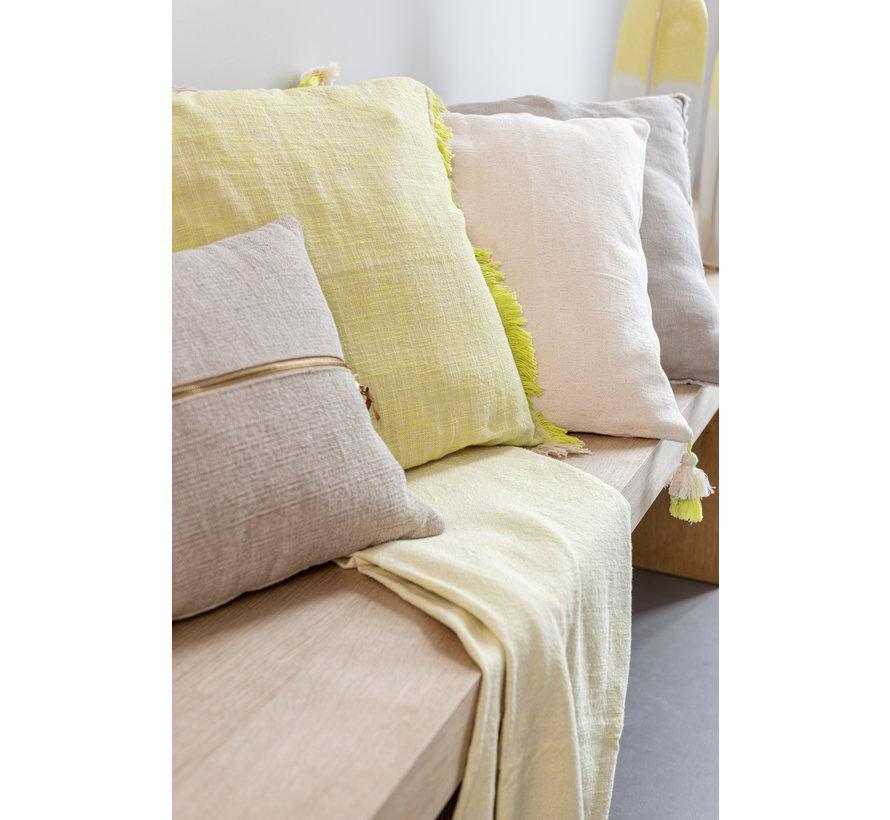 Cushion Square Fringes Yellow - Beige
