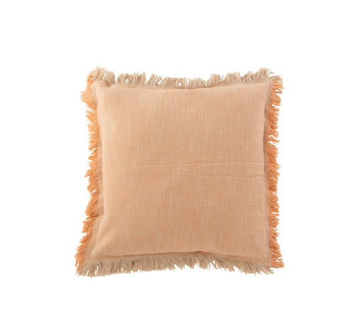 J -Line Cushion Square Fringes Orange - Beige