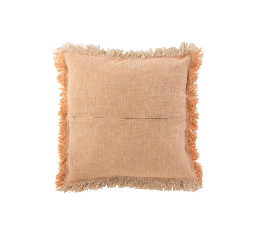 Cushion Square Fringes Orange - Beige